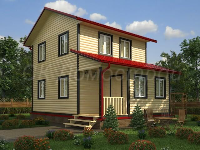 Дом из бруса 6х8 с мансардой