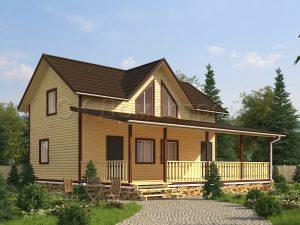 Проект дома с большой террасой
