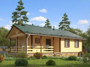 Одноэтажный дом из бруса с верандой