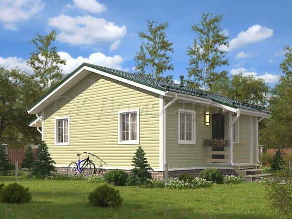 Одноэтажный каркасный дом 8х8